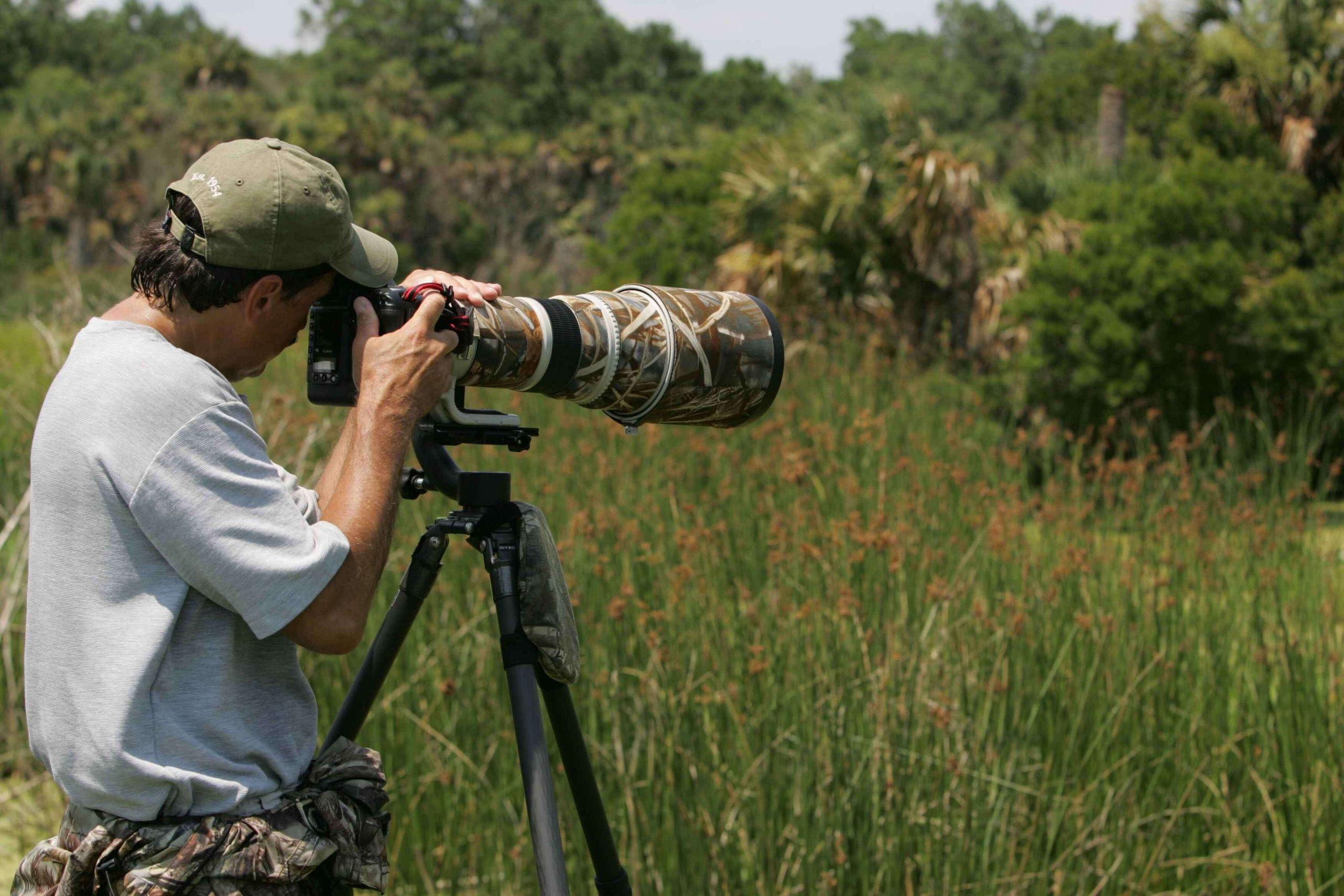 safari photographer with a mega lens