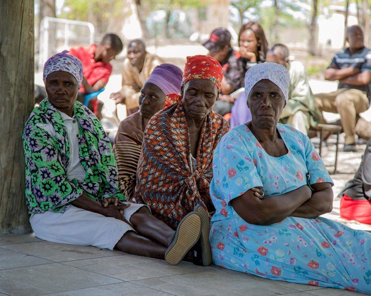 Village elder women in Sankuyo gather for a meeting