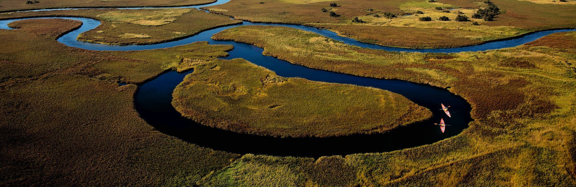 Two kayaks on the Okavango Delta