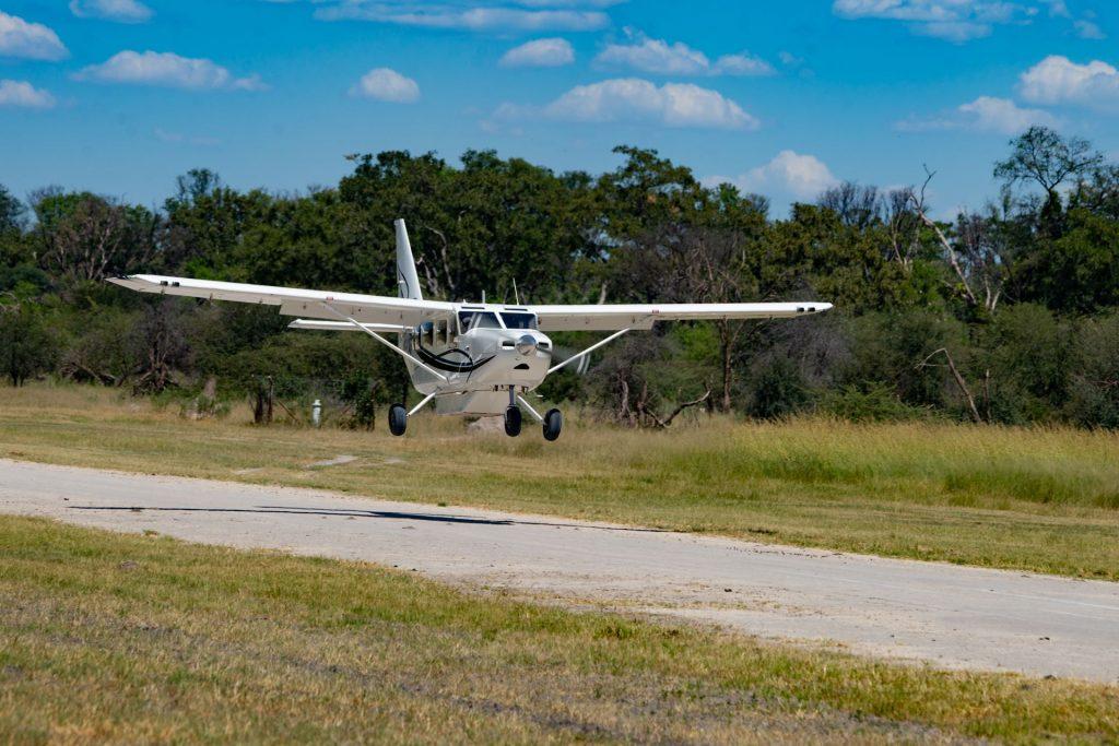 Aircraft landing in Okavango