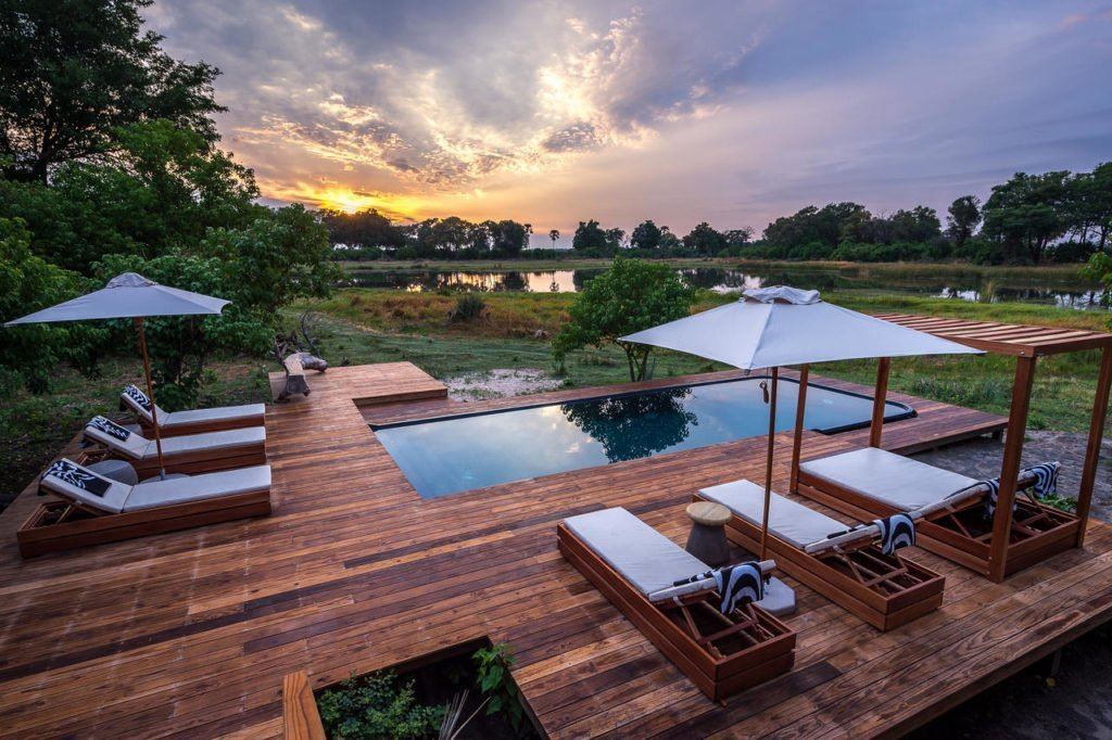 Romantic safari scape at Qorokwe lodge in the Okavango Delta