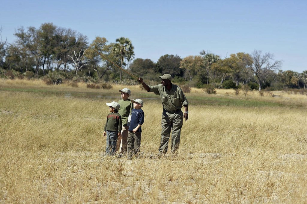 Guided safari walks with kids in the Okavango