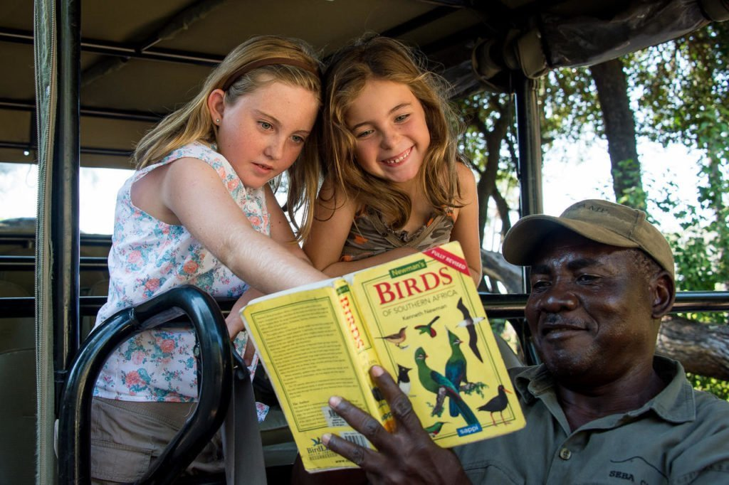 Bird spotting with kids in the Okavango