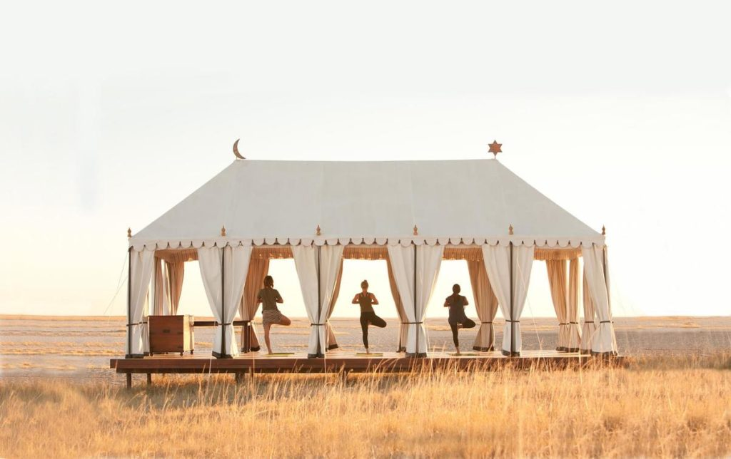 Yoga at San Camp, Botswana