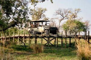 Game drive over a bridge in the Okavango