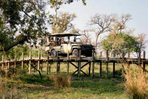 Game drive over a bridge in the Okavango