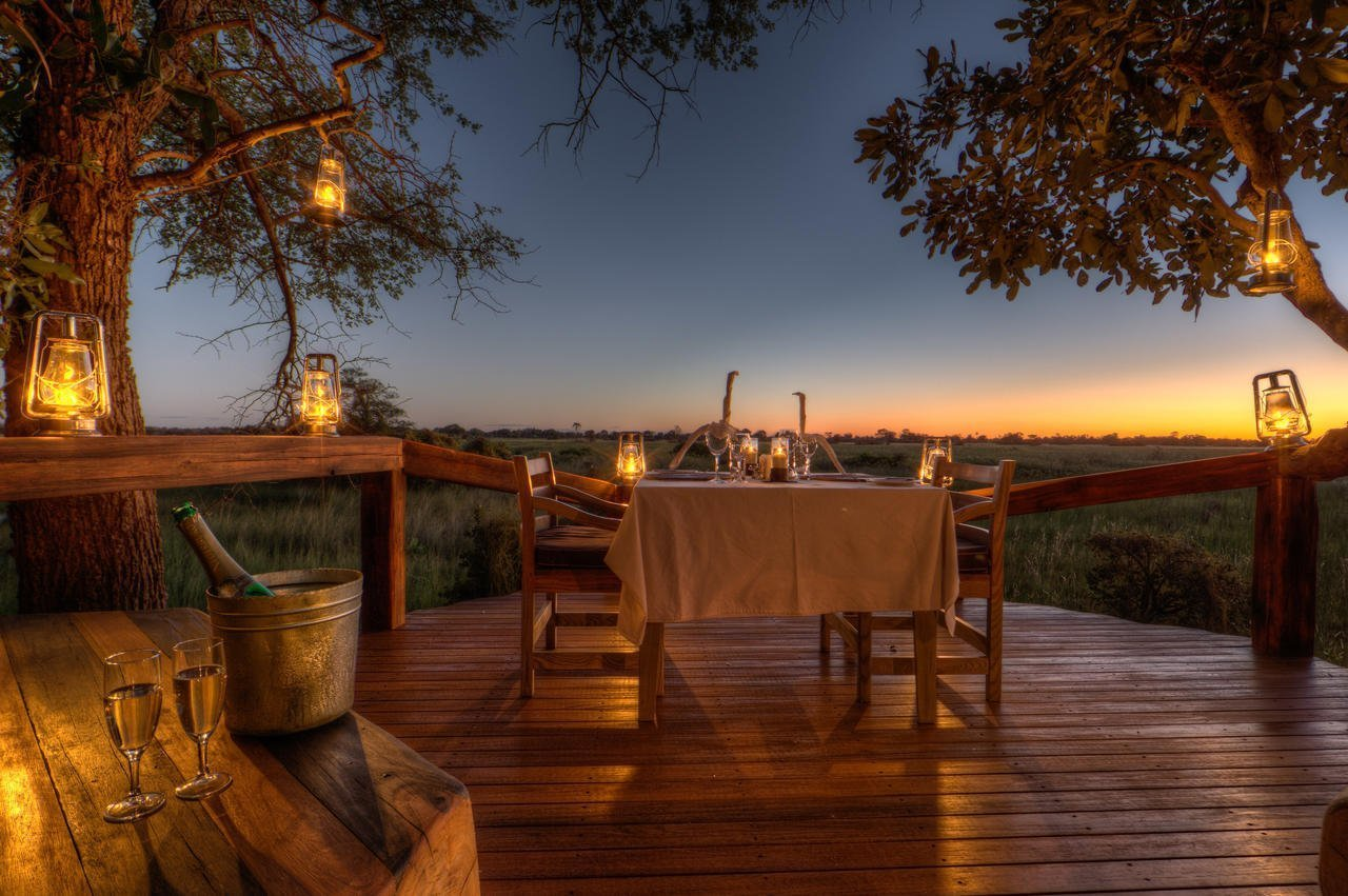 Dinner with a view at Camp Okavango