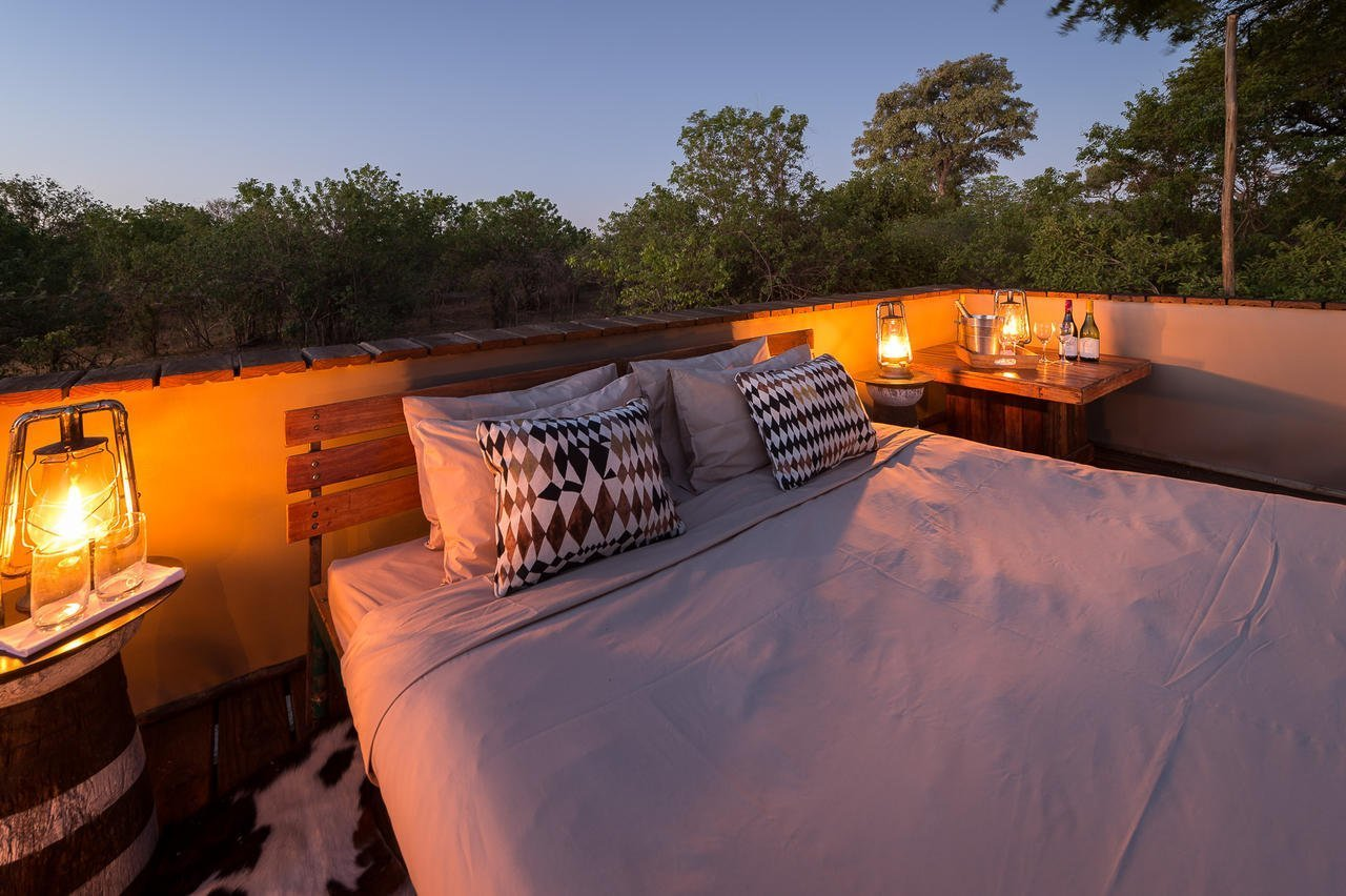 Sleeping under ther stars at Savuti Camp