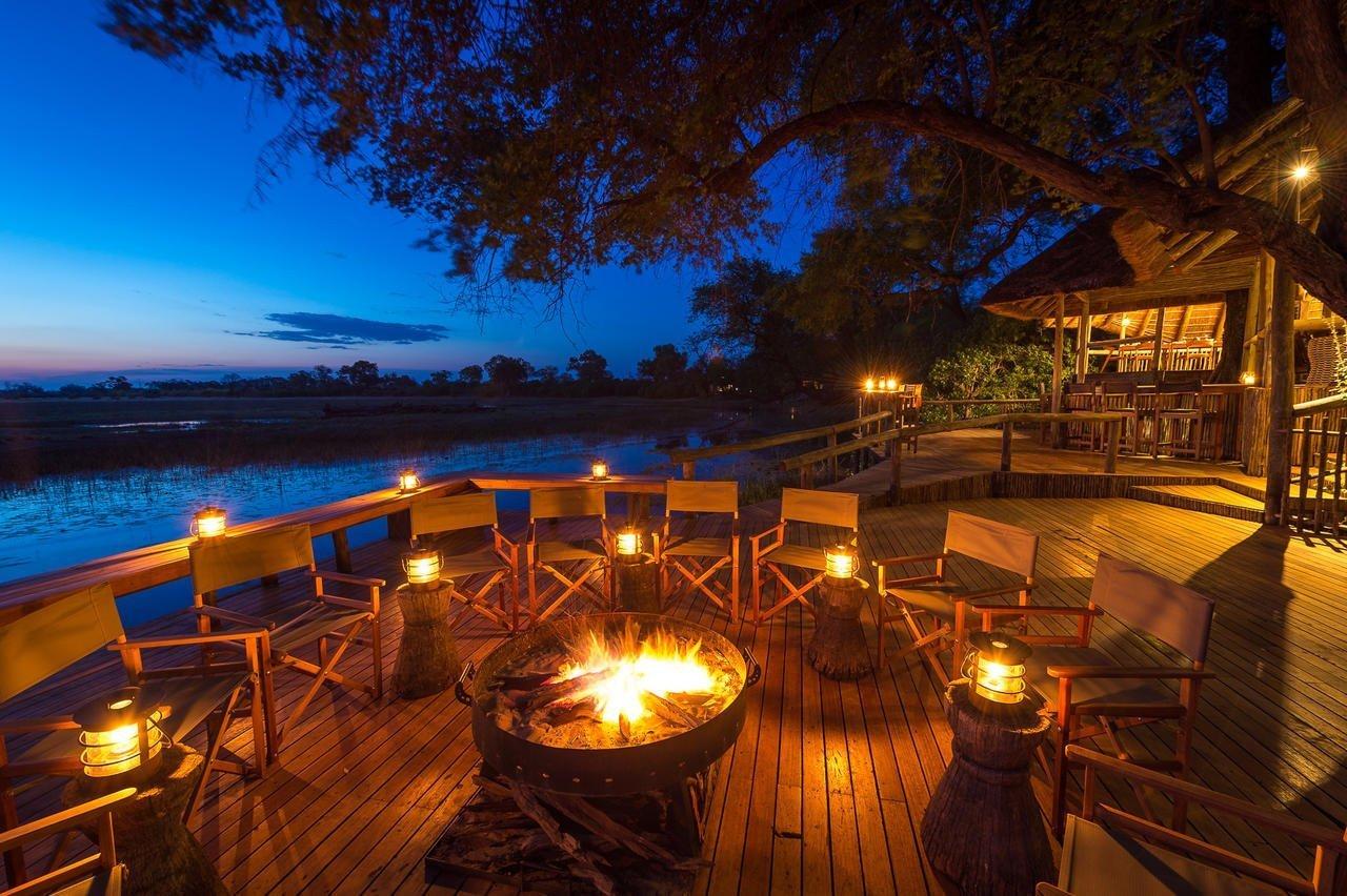 Evening fire in Savuti Camp