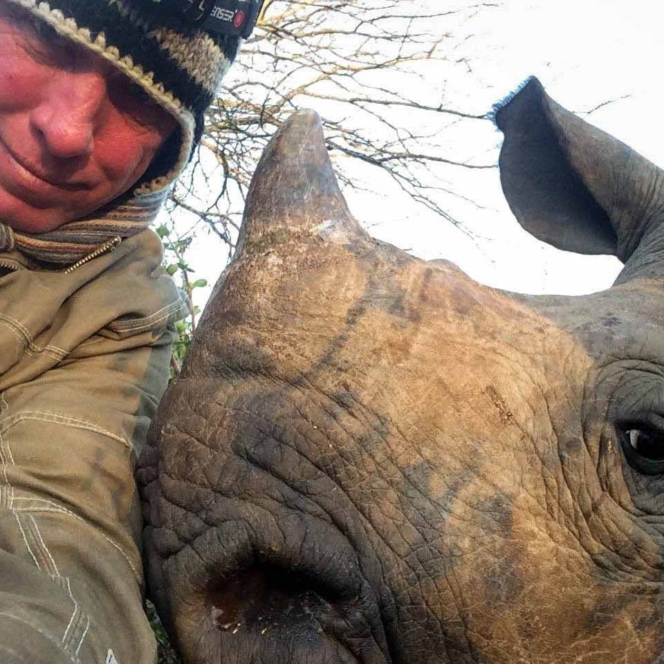 Steven Stockhall with a baby rhino