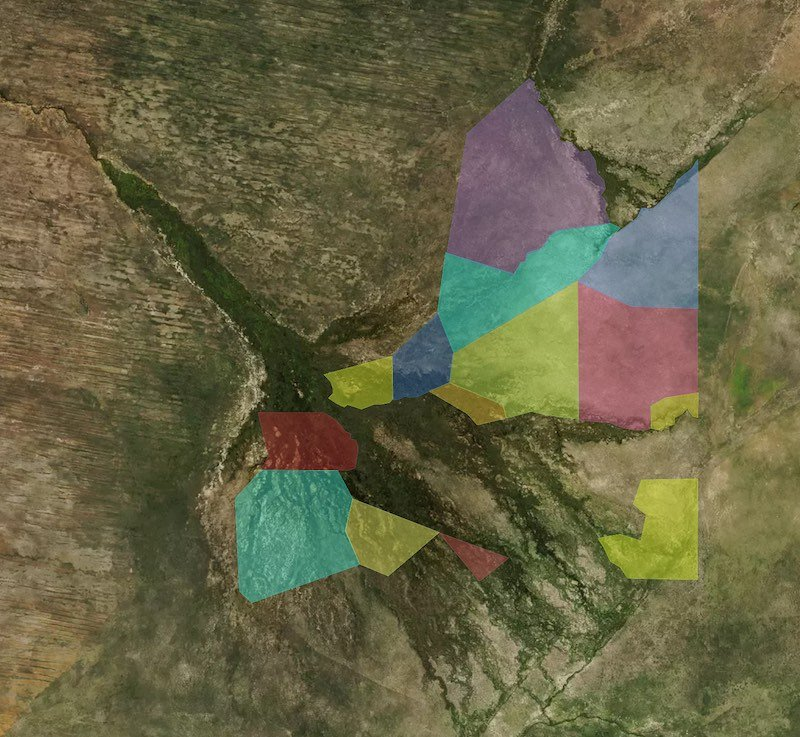 Overlay of Okavango concessions
